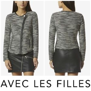 New Avec Les Filles Striped Knit Moto Sweater Sz M